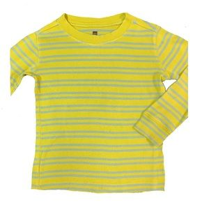 Tea Yellow-Striped LS Tee! Sz 4-5.